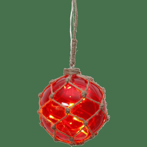 LED dekorācija Stikla bumba NOAH, sarkana, silti balta gaisma, 13cm, 8LED, IP20