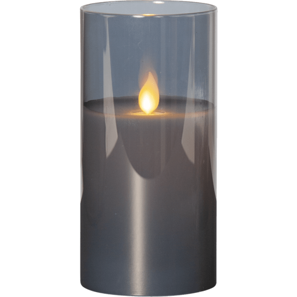 LED Vaska svece glāzē M-TWINKLE dūmakaina, ar liesmas efektu, 15cm, IP20, 2xAA, ar taimeri