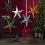 LED zvaigzne ar nano stiepli Star Trading Velvet, 60cm, 40LED, WW, IP20, 3xAA, ar taimeri