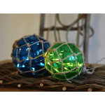 LED dekorācija Stikla bumba NOAH, zaļa, silti balta gaisma, 13cm, 8LED, IP20