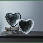 LED galda dekorācija Heart, spogulis ar 3D efektu, balts, 25cm, 41LED, IP20, 3xAA