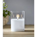 LED vaska svece ar liesmas efektu FLAMME, balta, 12,5cm, IP20, 2xAA, ar taimeri