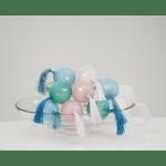 LED Virtene Diega bumbas Star Trading Jolly Tassel krāsainas, 1,35m, 10LED, IP20, 3xAA, Ar taimeri