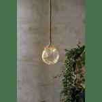 LED dekorācija piekarama, stikla JUTTA 15cm, 15LED, WW, IP20, 3xAA, ar taimeri, 2m aukla