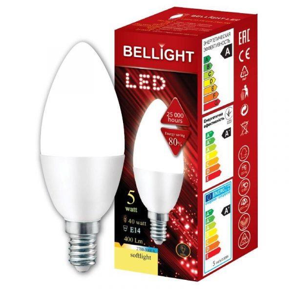 LED spuldze Bellight E14 svecīte C35, 5W, 3000K, 400lm