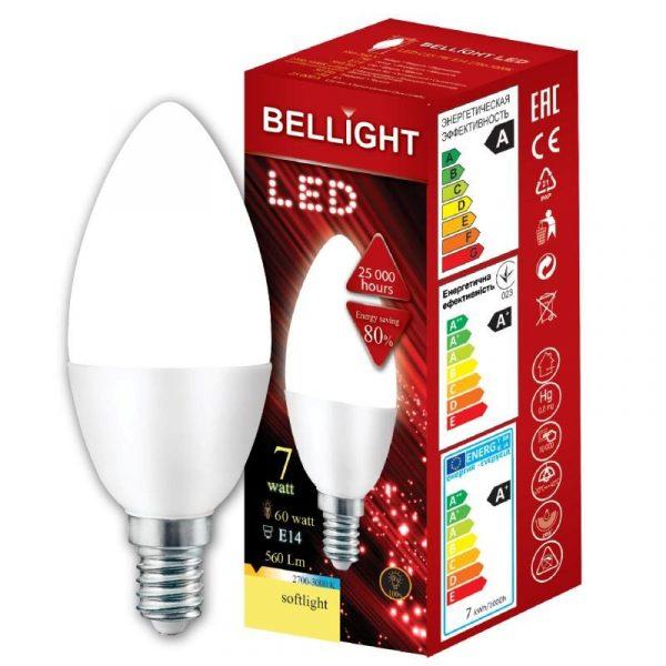 LED spuldze Bellight E14 svecīte C35, 7W, 3000K, 560lm