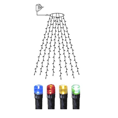 LED āra virtene Ziemassvētku eglītei, krāsaina, 0,2x2m, 160LED, IP44, 5m strāvas vads