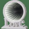 LED galda dekorācija Love, spogulis ar 3D efektu, 20,5cm, 26LED, IP20, 3xAA