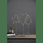 LED galda dekorācija Eglīte Wiry, pelēka, 42cm, 12LED, IP20, 2xCR2032