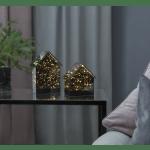 LED dekors Laterna Mirror House, silti balta gaisma, 14,5cm, 15LED, IP20, 3xAA, ar taimeri