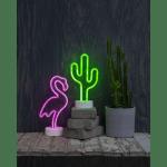 LED galda dekors Neona Flamingo, 32,5cm, 121LED Ropelight Neon, IP20, 3xAA, ar taimeri
