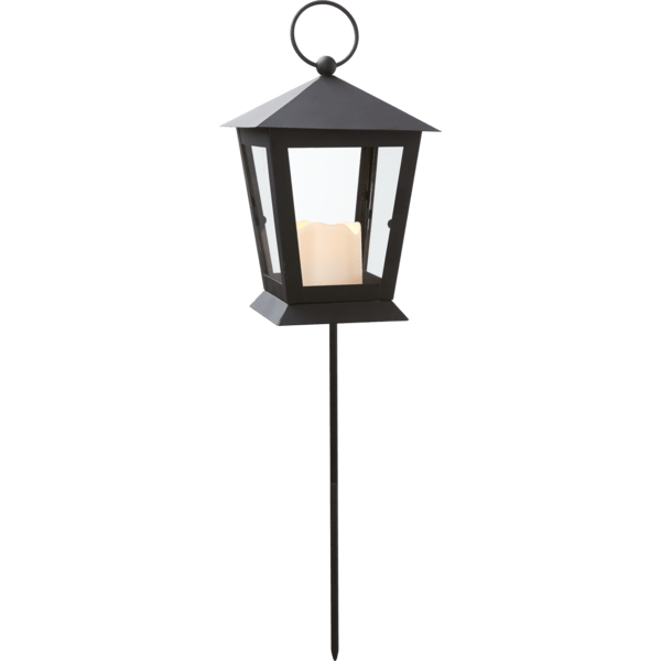Laterna ar kāju un LED sveci SERENE, melna, 40cm, IP44, 1xCR2032, ar taimeri