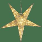 LED āra dekors piekarama zvaigzne zelta SEQUINI, 55cm, 48LED, IP44, ar vizuļiem