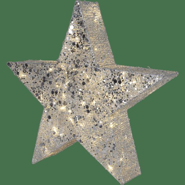 LED āra dekors Zvaigzne SEQUINI, 70cm, 40LED, IP44, ar vizuļiem