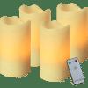 LED Vaska sveces ar pulti 4gb. ADVENT, ziloņkaula, 10cm, IP20, 2LED, 2xCR2032, ar taimeri