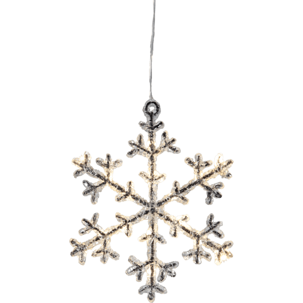 LED piekarams dekors Sniegpārsla ICY, silti balta, 18cm, 16LED, IP20, 3xAA, ar taimeri