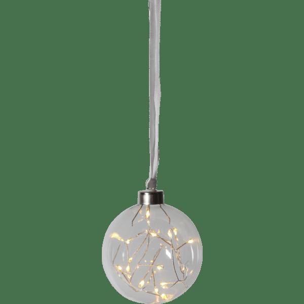 LED piekarams dekors Stikla bumba Glow, 2700K, 11cm, 15LED, 3xAA, ar taimeri