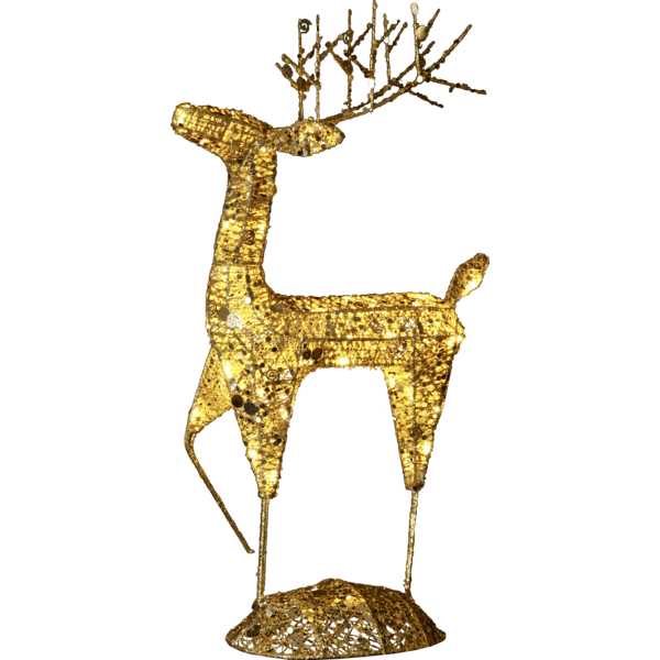 LED āra dekors Briedis zelta SEQUINI, 68cm, 40LED, IP44, ar vizuļiem