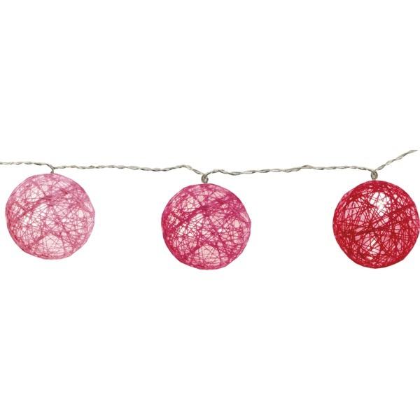 LED Virtene Diega bumbas Star Trading Jolly rozā, 1,35m, 10LED, IP20, 3xAA