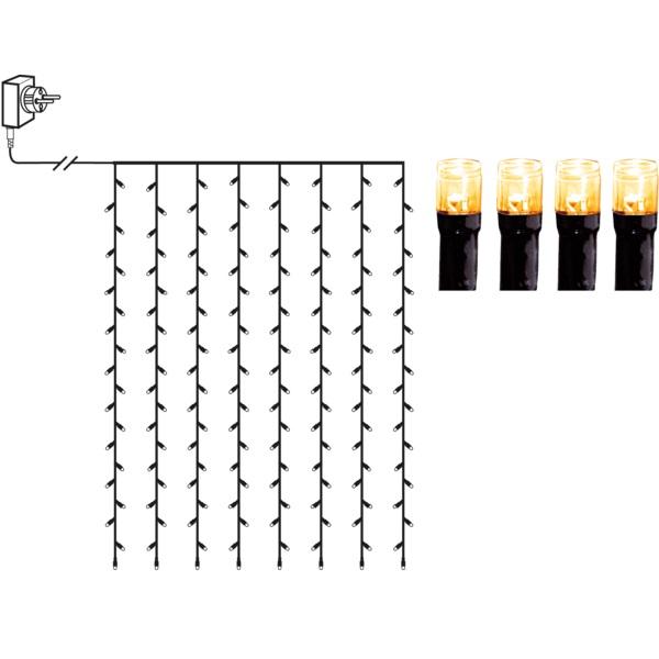 Led āra virtene aizkars Star Trading Curtain Golden, 1970K, 1,3×2m, 120LED, IP44