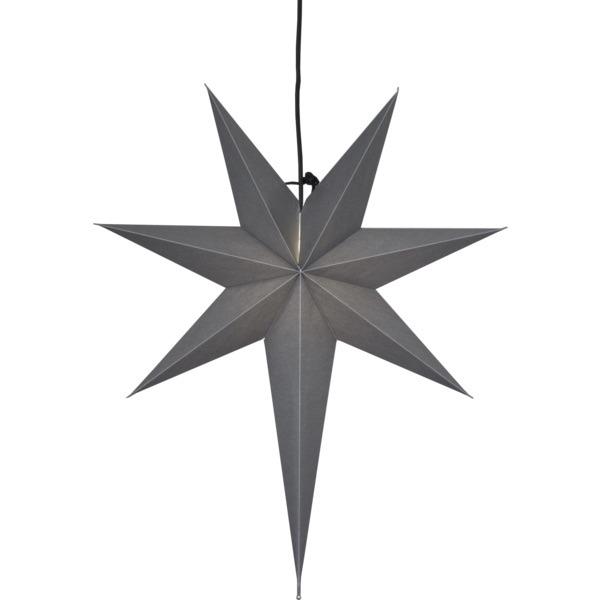 LED dekorācija Zvaigzne OZEN, Star Trading, pelēka, 55x65cm, E14, Max. 25W, IP20