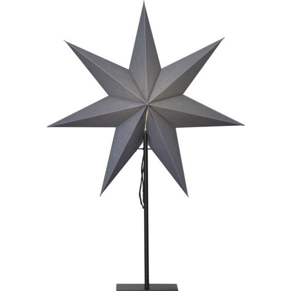 LED dekorācija Zvaigzne OZEN, Star Trading, pelēkā, 75x35cm, E14, Max. 25W, IP20